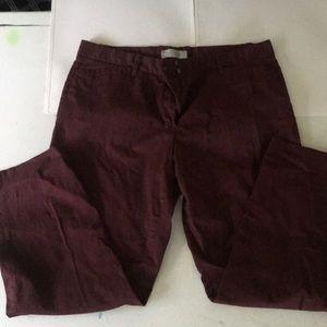 Gap slim crop burgundy pants size 12